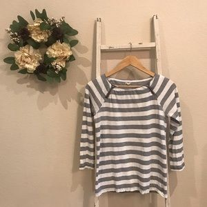 [J. Crew] Gray and White Striped Long Sleeve Tee
